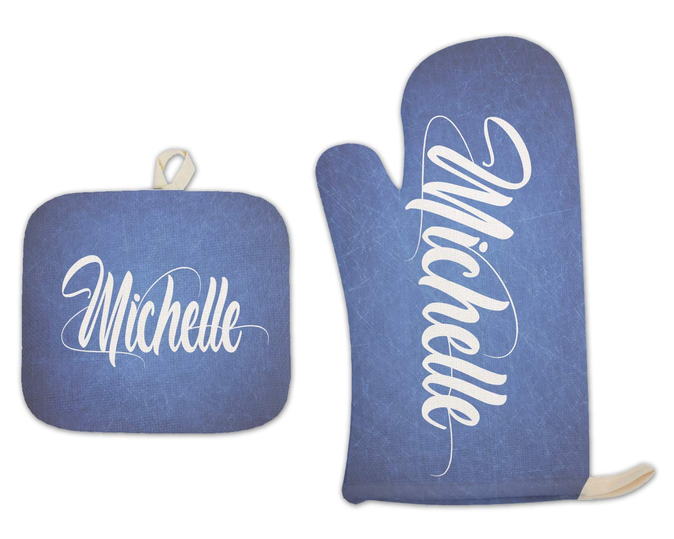 BRGiftShop Personalized Custom Name Bright Blue Vintage Distressed Print Linen Oven Mitt and Potholder Set