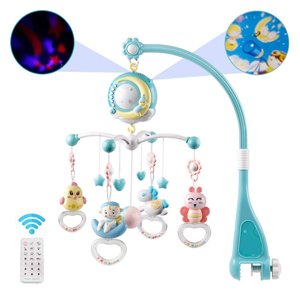 Kinderbett Spielzeug H/ängende Rotierende Rasseln Und Ferngesteuerte Spieluhr F/ür Neugeborene Hihey Mobile Baby bett Mit Projektor Und Lichtern