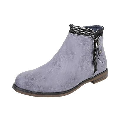 0796cab1f82db7 Ital-Design Chelsea Boots Damen-Schuhe Chelsea Boots Blockabsatz  Blockabsatz Reißverschluss Stiefeletten Blau Grau