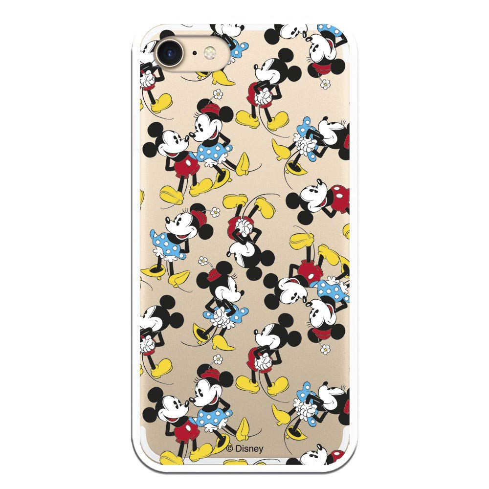 Carcasa Oficial de Disney Mickey y Minnie Patrón Clear para iPhone 7-8 - La Casa de Las Carcasas