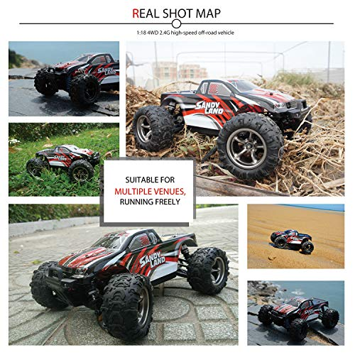 EXERCISE N PLAY RC Car, Remote Control Car, Terrain RC Cars, Electric Remote Control Off Road Monster Truck, 1:18 Scale 2.4Ghz Radio 4WD Fast 30+ MPH RC Car, with 2 Rechargeable Batteries by EXERCISE N PLAY (Image #3)