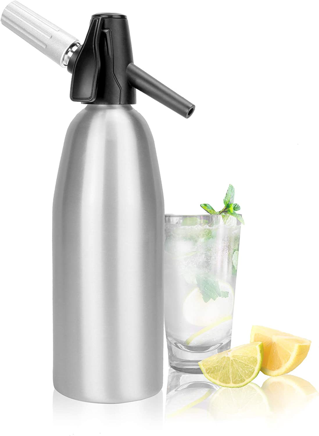1L Aluminium Soda Siphon | Fizz Maker | Soda Machine | Seltzer Water Creator | Carbonated Water Dispenser | Fizzy Beverage Maker | Carbonator | M&W