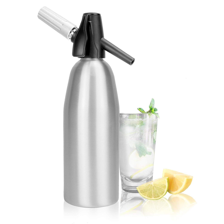 Fizzy Beverage Maker Carbonated Water Dispenser Carbonator M/&W Soda Machine Seltzer Water Creator 1L Aluminium Soda Siphon Fizz Maker