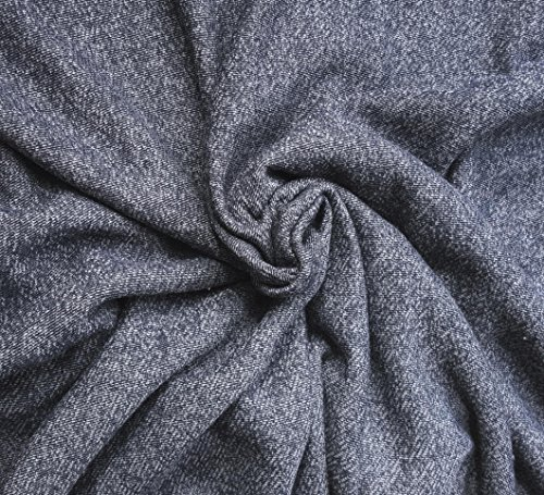 Novelty Cotton French Terry Fabric by the Yard 12 OZ - HEATHER INDIGO 58