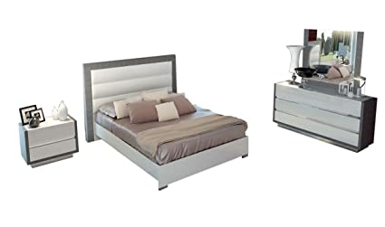 Amazon Com Esf Furniture Modern Mangano Queen Bedroom Set In White
