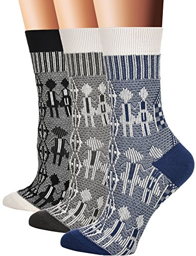 Flora&Fred Women's Cotton Crew Socks, Sock Size 9-11/Shoe Size 5-9, Couple, 3 Pack by Flora&Fred