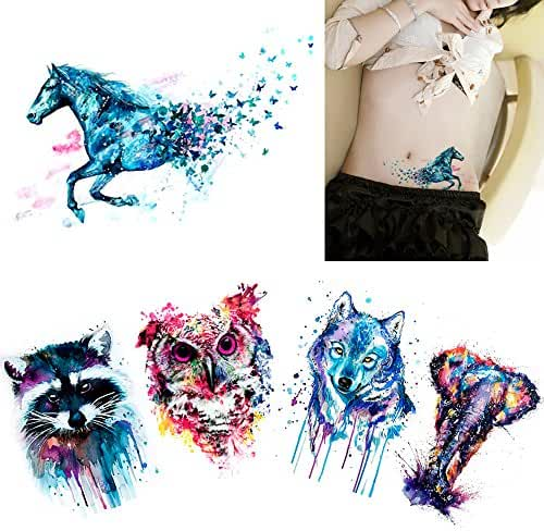 5 Sheets Watercolor Body Temporary Tattoo Sticker Wolf Elephant Picture Design Leg Arm Art Sexy