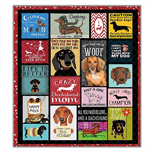 Dachshund Dog Pattern Lightweight Quilt King Size Queen Size Quilted Blanket Outdoor Camping Quilt Blanket