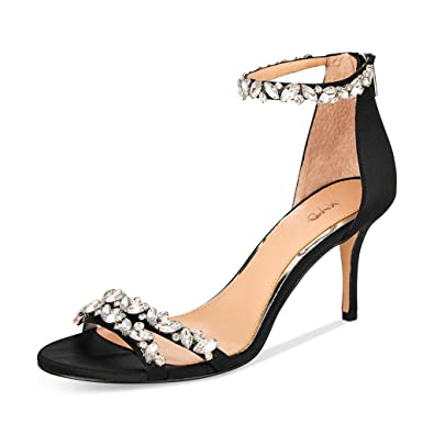 37ea4e68688 XYD Women Mid Heel Rhinestone Strappy Sandals Open Toe Ankle Strap Prom  Evening Party Dress Shoes