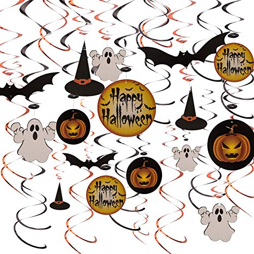 Halloween Swirl Decorations 30ct Glitter Paper Cutouts Happy Halloween Hats Bats Ghosts Jack-o'-Lantern for Halloween Party Ceiling Hanging Supplies Backdrop Decors -