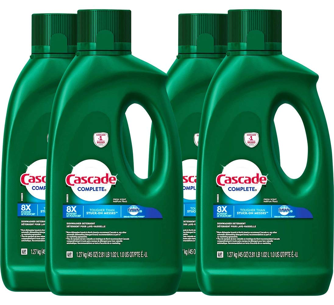 Cascade Complete Gel Dishwasher Detergent, Fresh Scent, 45 Oz, Pack of 4 Bottles