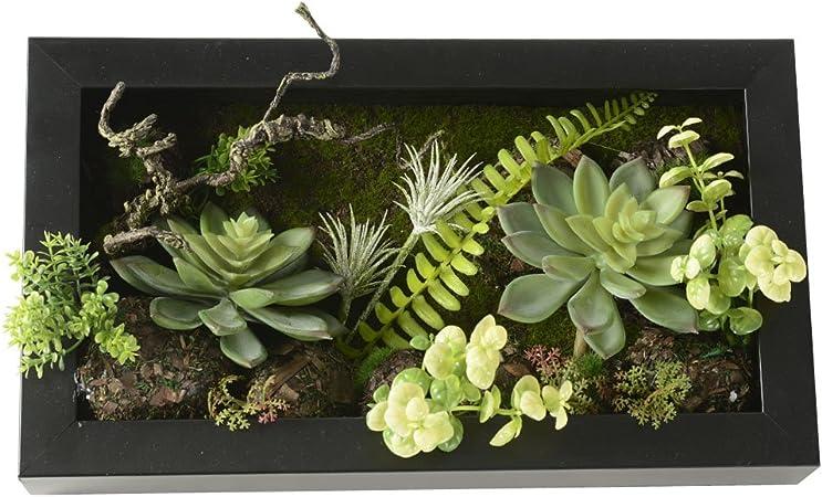 Vase artificiel en forme de cadre mural 3D cactus foug/ères 19,9 x 35/cm mousse sur pierre D/écoration de maison Balle feuilles vertes