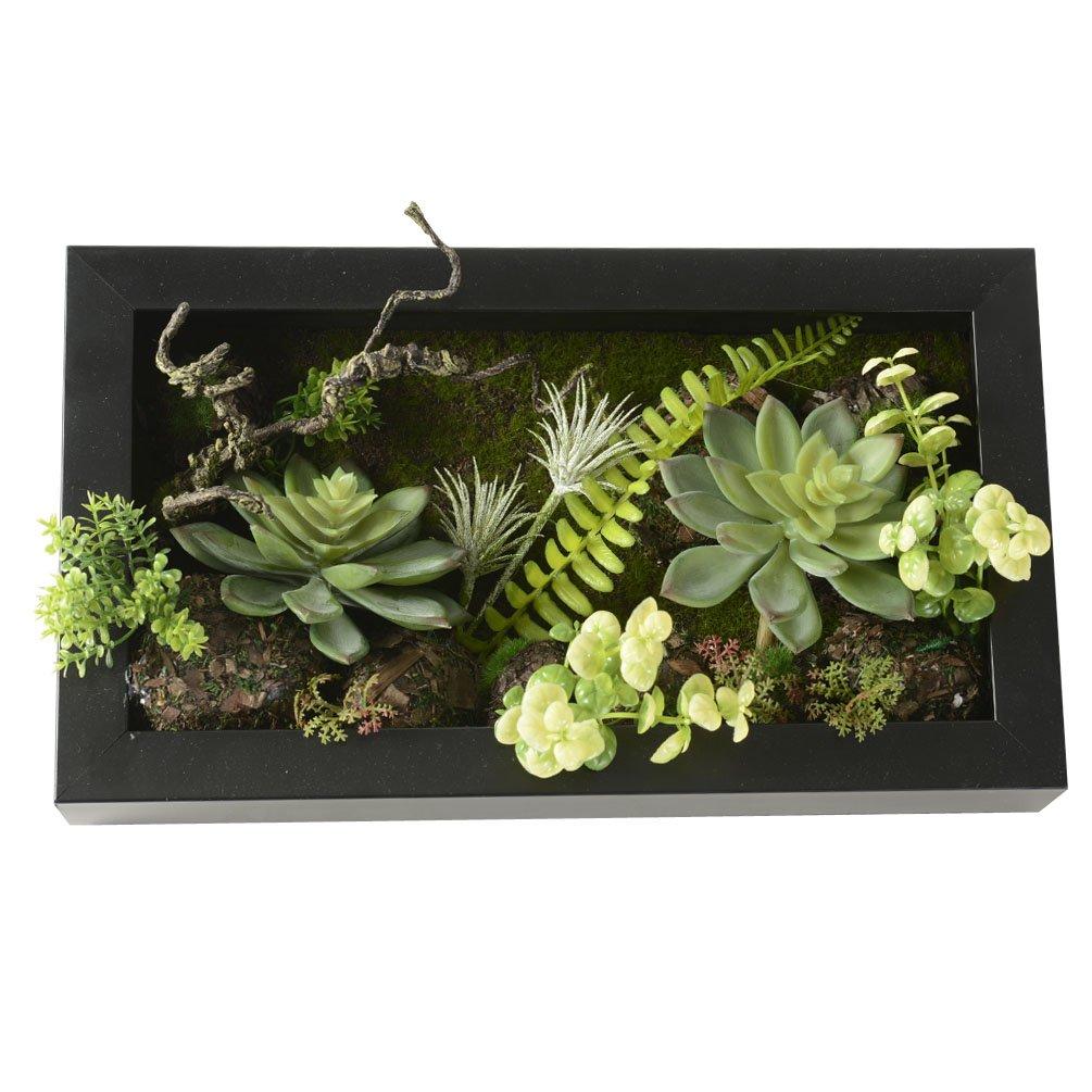 feuilles vertes cactus Vase artificiel en forme de cadre mural 3D mousse sur pierre Balle foug/ères D/écoration de maison 19,9 x 35/cm