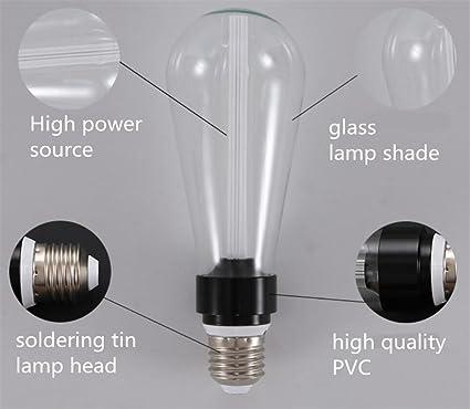Edison Bombilla LED E27 Base De Lámpara Oro Plata Transparente Lámpara De Techo De Color 5W