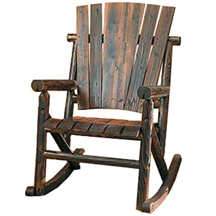 amazon com char log single rocker rocking chairs garden outdoor