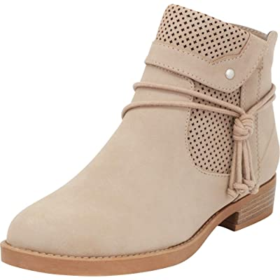 Cambridge Select Women's Foldover Cuff Wraparound Tie Perforated Low Heel Ankle Bootie: Shoes