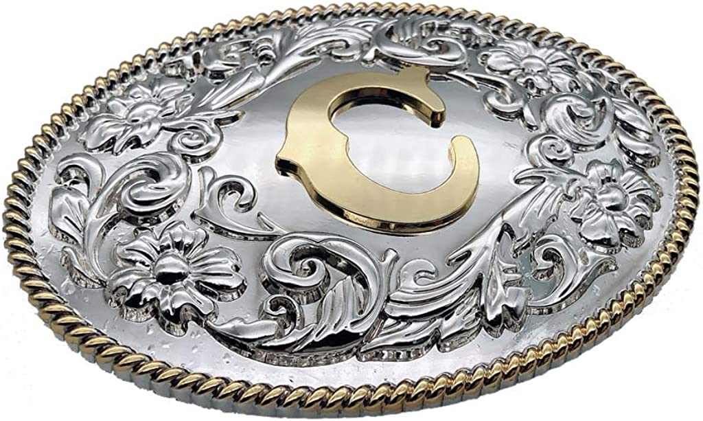 Initial Two-Tone Belt Buckle Letter Alphabet Western Cowboy Gold Silver Buckles