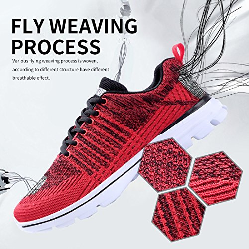 Outdoor Sneakers Athletic Casual Shoes Sports Walking Black Lightweight eyeones Red Women's Men's BHq181