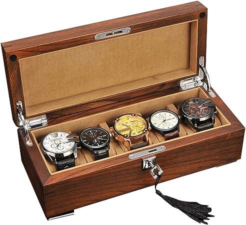 Grande Cajas para Relojes de Madera con 5 Compartimentos Estuche para Relojes y Joyeros Joyas Soporte de Exhibición Organizador Accesorios para Hombre Mujer: Amazon.es: Hogar