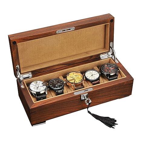 Grande Cajas para Relojes de Madera con 5 Compartimentos ...