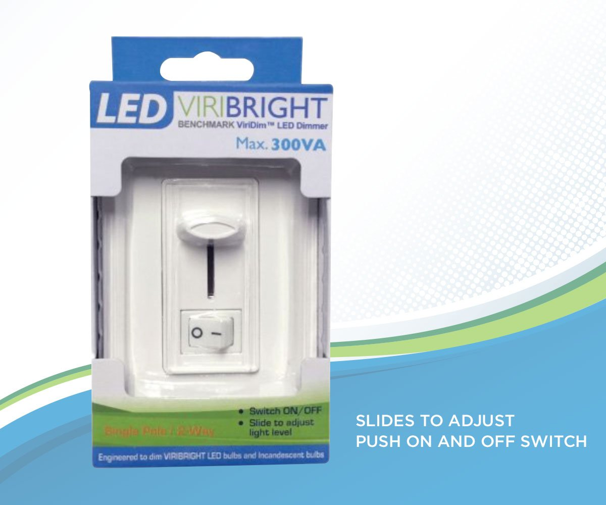 Viribright LED Dimmer Switch, Electronic Low Voltage (ELV) Noise Reducing Dimmer, 300VA 2 Way or Single Pole Dimming Wall Slider
