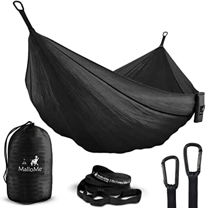 Free 2 Carabiners 2 Person Equipment Kids Accessories Max 1000 lbs Breaking Capacity MalloMe Double /& Single Portable Camping Hammock Parachute Lightweight Nylon with Hammok Tree Straps Set