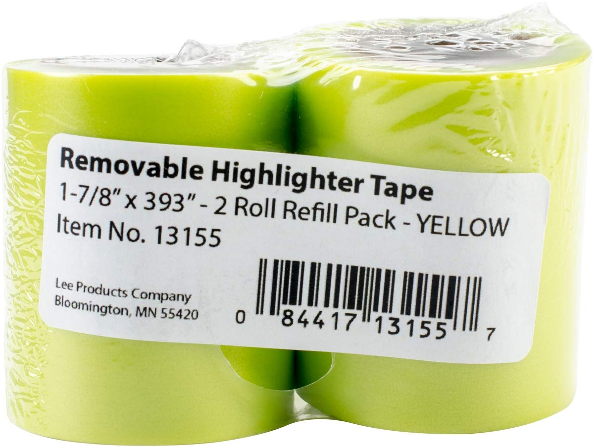 Lee Products 131-55 1.88 x 393 in. Removable Highlighter Tape44; Yellow - Pack of 2