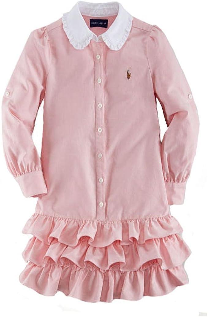 Ralph Lauren Polo Las niñas Rosa Oxford Vestido Camisero Vestido ...