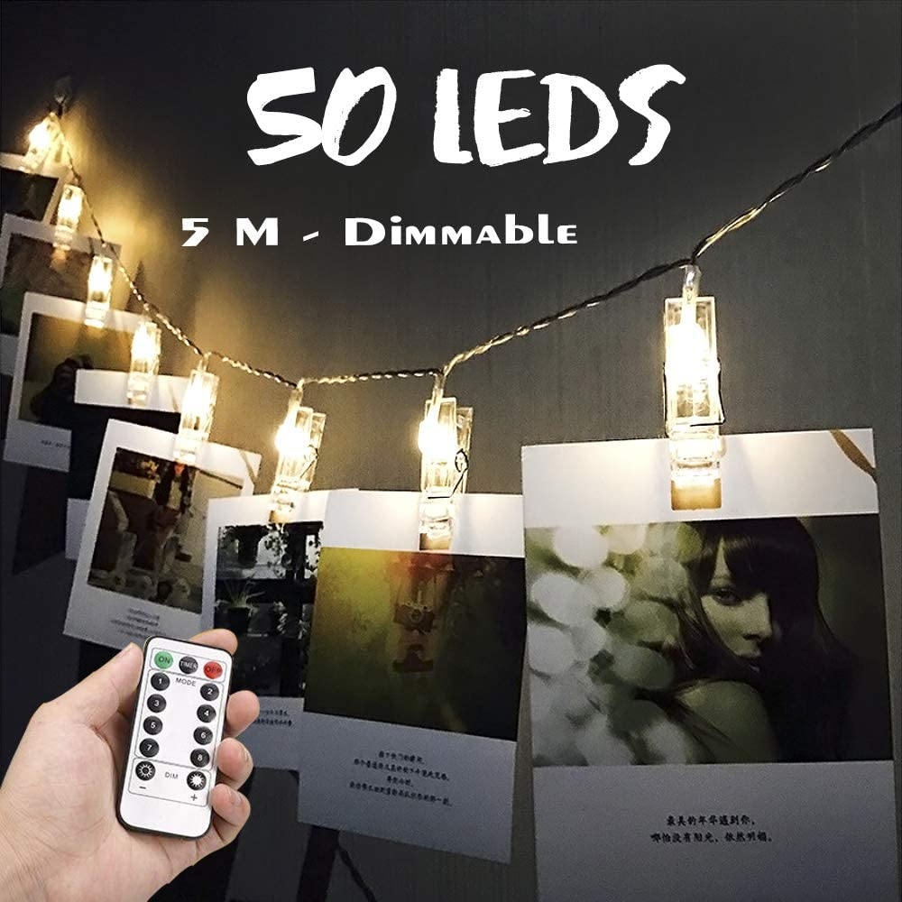 Artbisons 50 LEDs Photo Clips String Lights with Remote Control Holder Fairy Lights for Hanging Photos Pictures Cards Memos Warm White Light for Bedroom Decor Decoration