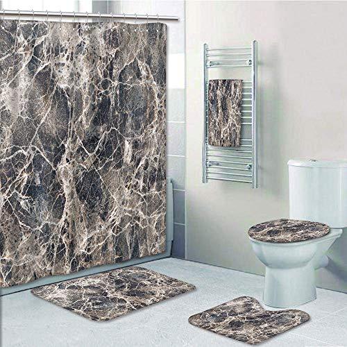Bathroom 5 Piece Set shower curtain 3d print,Marble,Ceramic Style Grunge Scratches with Formless Lines and Cracks Artwork Decorative,Tan Beige Dark Taupe,Bath Mat,Bathroom Carpet Rug,Non-Slip,Bath Tow ()