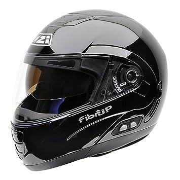 NZI Fibrup BTMN Casco de Moto con Bluetooth, Negro, 55-56 (S