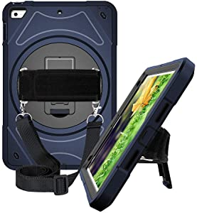 iPad Mini 5 2019 Case, iPad Mini 4 Case, Hybrid Hard iPad Case with 360 Degree Swivel Stand/Hand Strap/Shoulder Strap for iPad Mini 4 (4th Generation)/iPad Mini 5 7.9 Inch (5th Generation), Blue