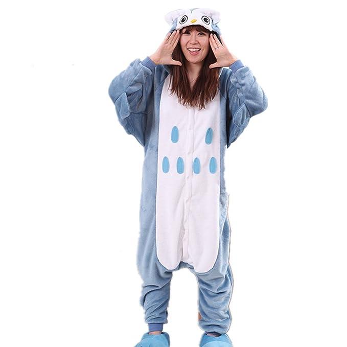 BOMOVO Vellón Disfraz de Animal Cosplay Hombre Mujer Pijama Mono Pajama Costume búho