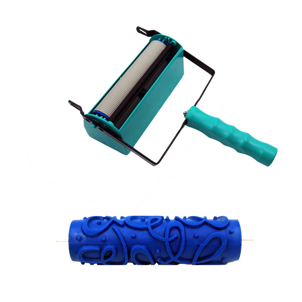 Fityle 7 inch Embossing Paint Roller Wave Pattern Painting Brush Sleeve with Painting Machine #2