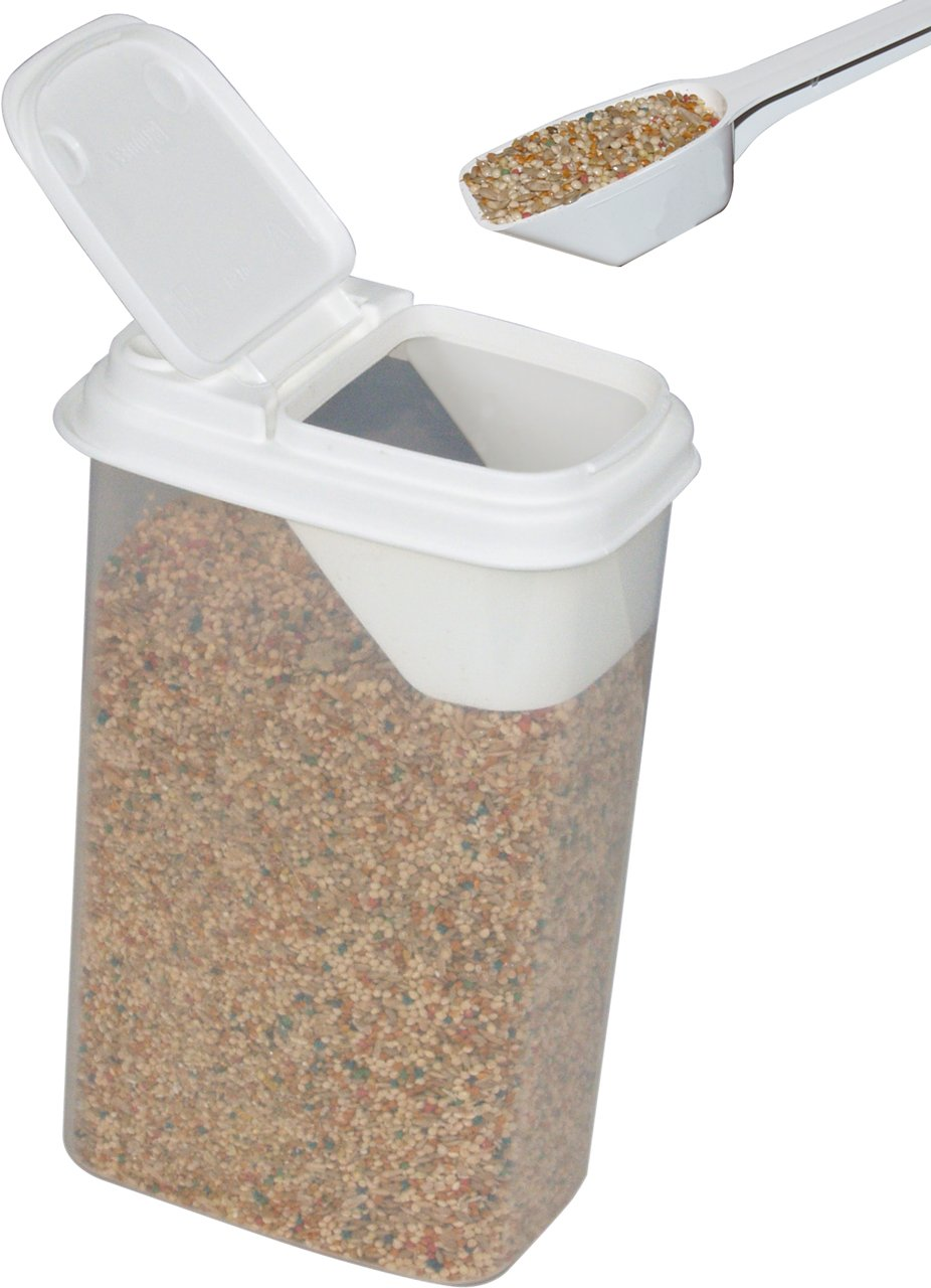 Buddeez Birdseed Storage Dispenser With Flip Lid and Two Tablespoon Scoop For Small Bird And Pocket Pets Birdseed, Millet, Nutri Berri's, Holds Up To 3lbs Varying by Seed Size