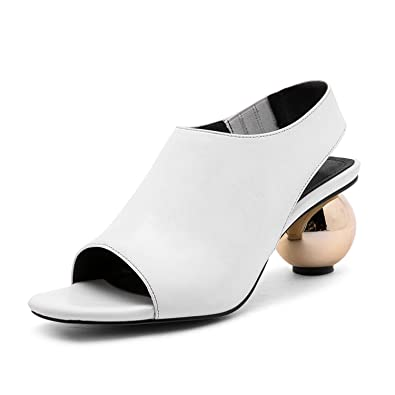 35008405b53 Image Unavailable. Image not available for. Color  Genuine Leather Women  Sexy Strange High Heels Ankle Strap Woman Sandals ...