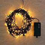 62 Foot Multi Color Battery String Lights with 8 Functions & Auto Timer - 200 LED - Connectable up to 186'