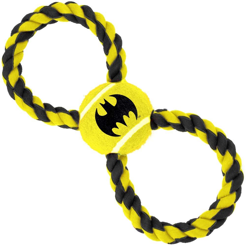 Dog Toy Rope Tennis Ball Batman Bat Icon Yellow Black Black Yellow Rope
