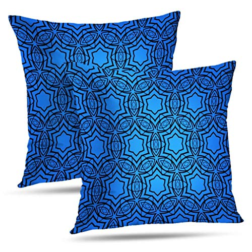 WAYATO Set of 2 Pillow Case Cotton Polyester Blend Throw Pillow Covers Cobalt Blue Bed Home Decor Cushion Cover 18X18 Inch ()