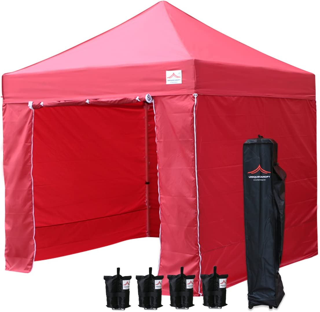 UNIQUECANOPY 10'x10' Ez Pop Up Canopy Tent Commercial Instant Shelter, with 4 Removable Zippered Side Walls and Heavy Duty Roller Bag, 4 Sand Bags Red