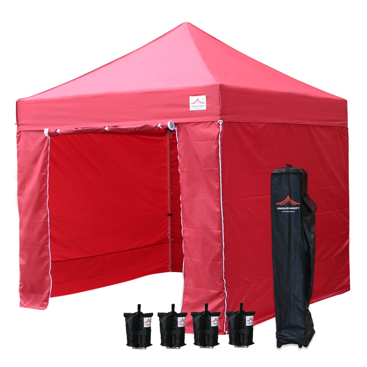 UNIQUECANOPY 10x10 Ez Pop up Canopy Tents for Parties Outdoor Portable Instant Folded Commercial Popup Shelter, with 4 Zippered Side Walls and Wheeled Carrying Bag Bonus 4 Sandbags Red