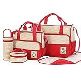 iPretty Set 5 kits Bolsa de Mama Para Bebe Biberon Bolso/Bolsa/Bolsillo Maternal Bebé para Carro Carrito Biberón Colchoneta Comida Pañal con Gran Capacidad de Color Rojo