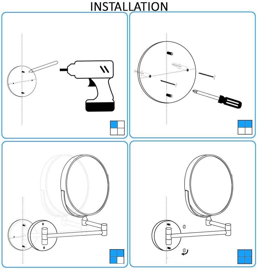 360 /° Horizontal Pivotant Et Vertical,Surface Chrom/ée,pour Salle De Bain,Charging3x FOOX Miroir Grossissant Lumineux Mural Miroir Salle De Bain 8 Pouces