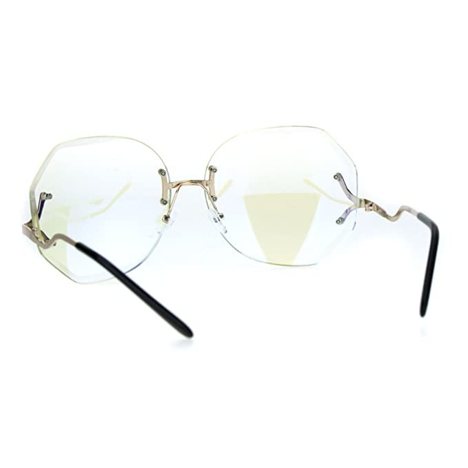 a53814fad0 Amazon.com  Womens Oversize Drop Temple Rimless Butterfly Diva Granny Eye  Glasses Gold  Clothing