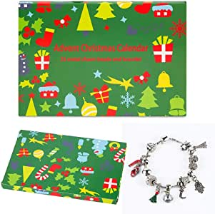 "Mouttop Advent Calendar, Made with DIY Beads Charms Bracelet for Kids Christmas Jewelry Box, 8.5"", Silver"