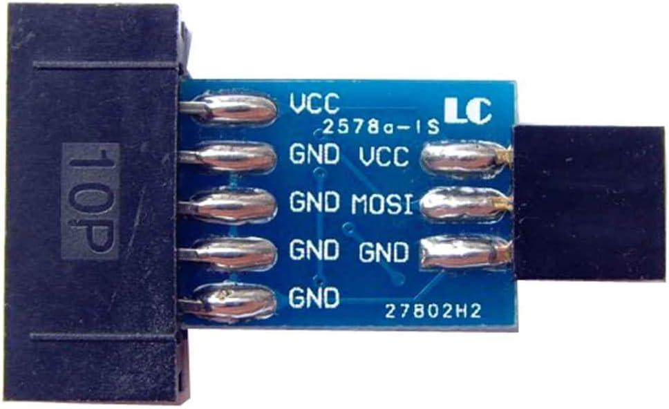 Idyandyans 10 Pin zu Standard 6 Pin Adapterkarte AVRISP USBASP STK500 Module Programmer ISP Interface Converter