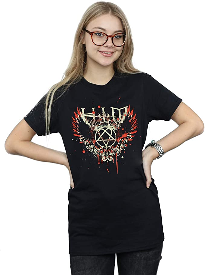 TALLA M. Absolute Cult Him Mujer Wing Splatter Camiseta del Novio Fit