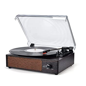 Record Player Turntable 3 Speed Vinyl Record Player with Stereo Speaker Belt Driven Vintage Style Vinyl Record Player (Normal, Vintage Style)