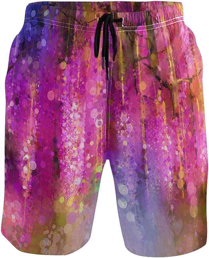 Mens Beach Swimming Trunks Funny Sugar Skulls Purple Flowers Swimsuit Swim Underwear Boardshorts with Pocket