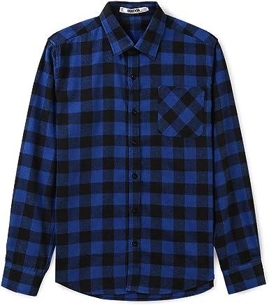 Phorecys Camisa de Franela a Cuadros de Manga Larga para Hombres: Amazon.es: Ropa y accesorios